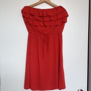 Coral Strapless Lace Ruffle Tie Waist Dress Large